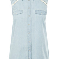 Lace and Denim Sleeveless Shirt