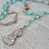 Goddess of Mercy - Aqua links and Guanyin Buddha Pendant