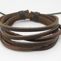 Leather and Rope Woven Bracelets Adjustable 10S by sevenvsxiao