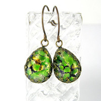 Vintage Green Opal Foil Teardrop Earrings