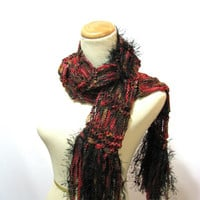 Red Hand Knit Scarf  with Black and Brown - Price Reduction