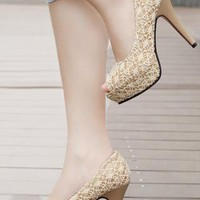 Lace High Heel Shoes from sniksa