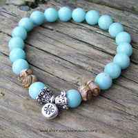 Centered Meditation Stretch Bracelet with Mandala Charm