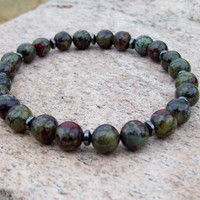 Dragon Blood Gemstone and Hemalyke Meditation Beaded Stretch Bracelet - Men's Inspiration