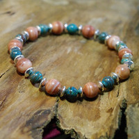 Grounding, Peace and Harmony - Red Malachite and Blue Sky Jasper Meditation Bracelet