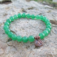 Om Charm Dark Green Aventurine Meditation Bracelet                - Stretch