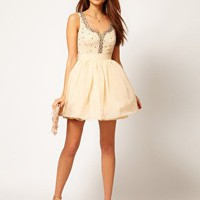 Little Mistress Diamante Sweetheart Neck Prom Dress at asos.com