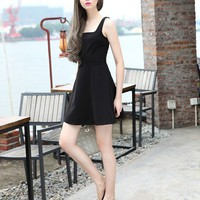 Solid Color Simple Summer Dresses Black