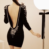 Hollow Back Pearl Black Tight Dress