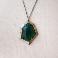 Vintage retro 1970s green glass faceted pendant