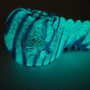 Glow in the Dark Glass Pipe - Blue Spiral Stripe