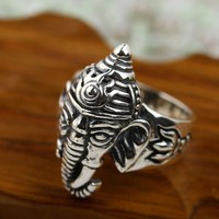 Elephant Portrait 925 Sterling Ring