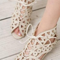 Elegant White Hollow Sandals from ABIGALE