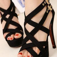 Ladies High Heel Fashion Evening Strappy Sandals In BLACK from NaomiShu
