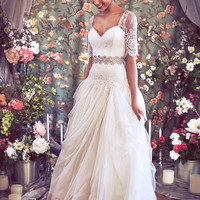 Drop Waist Ballgown with Artfully Draped Tulle, Organza, and French Lace, Short Sleeve Sweetheart Lace bustier, &quot;Madeline-Hope&quot; by Schone