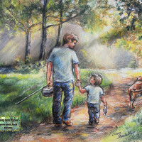Father's Day Fishing Print Personalized, Names added,  sports  father and son,  Gift