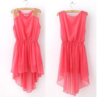 Elegant Women&#x27;s Chiffon Casual Paillette Shoulder Slim Mini Vest Dress 7Colors