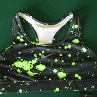 NWT NIKE PRO VICTORY SPORTS BRA COMPRESSION GREEN SPLAT 450864 012 MED SUPPORT