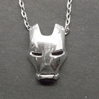 Iron man mask  necklace ,925 Silver necklace ,Iron man necklace.Creative necklace.GZ-bfx1988
