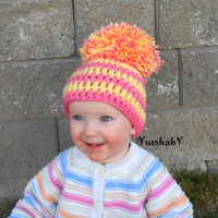 Baby Hats Pom Pom Hat Photo Props Pink and Yellow Newborn Beanie