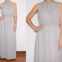 Chiffon Maxi Dress Keyhole dress in Powder Gray for Women