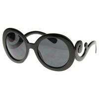 Designer Inspired Oversized High Fashion Sunglasses w/ Baroque Swirl Arms (With Free Microfiber Pouch)