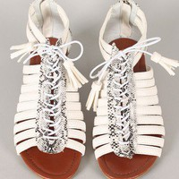 Simon-1 Snake Strappy Lace Up Open Toe Flat Sandal