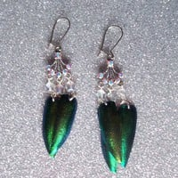 Woodland Princess - Jewel Beetle Wing Earrings with Czech Glass Beads and Swarovski Crystals from On Secret Wings