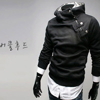 New Men Slim Sexy Fit Oblique Zip Faux Rabbit Fur Hoody Jacket Coat