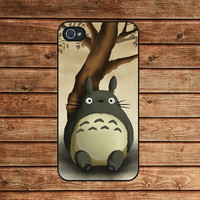 iphone 4 case,iphone 4s case,iphone 4 cover--Totoro On Tree,in plastic or silicone case
