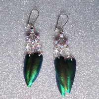 Woodland Princess - Jewel Beetle Wing Earrings with Czech Glass Beads and Swarovski Crystals