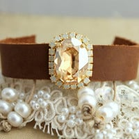 Crystal and leather Bracelet brown ivory and pearls- 14k plated gold, hippie chic, boho chic swarovski rhinestones