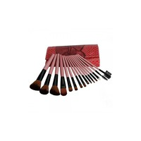 15pcs Cosmetic Makeup Brush Set with Snake-skin Pattern Bag Pink