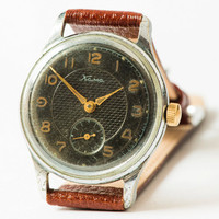 Antique men's watch KAMA Soviet retro wrist watch rare black ornamented face watch