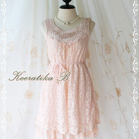 Lacy Darling II - Lady Lace Dress Pink Brush Lace Sweet Simply Cocktail Dinner Bridesmaid Prom Party Dress Classy Detailed Dress S-M