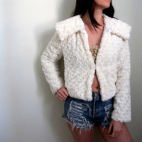 Vintage White Faux Fur Jacket Shag Plush Coat Womens Cropped Winter