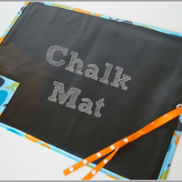 Kids Chalk Mat Roll Up Whale Designs Laminated Cotton Fabric with Chalk