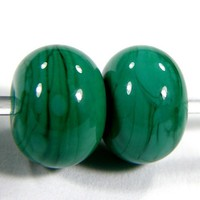 Petroleum Green Handmade Lampwork Beads Shiny Glossy Opaque Glass SRA