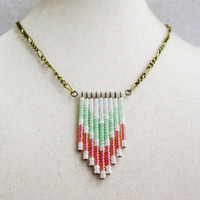 Tribal Coral Pink Mint Green & White Beaded Chevron Necklace