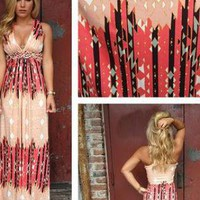 Coral Print Maxi Dress with Plunging Neckline with Racerback