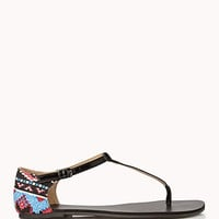 FOREVER 21 Out West Thong Sandals Black 10