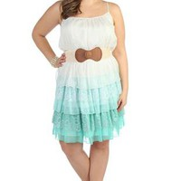 plus size day dress with triple tiered chiffon and lace ombre skirt - 1000042096 - debshops.com