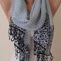 New - Trendy Scarf - Mother's Day Gift - Silk/ Chiffon with Black Trim Edge - Polka Dot and Leopard Print