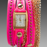La Mer EXCLUSIVE Square Chain Wrap in Neon Pink Bali/Gold from REVOLVEclothing.com