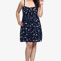 Navy Floral Challis Dress | Dresses