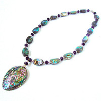 Abalone shell necklace - abalone shell pendant necklace - shell necklace - tropical necklace - summer accessories by Sparkle City Jewelry