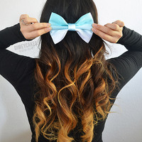 Mint Ombre Hair Bow - Dimeycakes - Hair Bows, Cases, &amp; Apparel