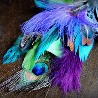 PEACOCK Feather Extension // Handmade Festival Hair Clip in Extension // Long Blue Purple Green Brown