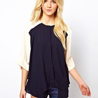 ASOS Top With Colourblock And Dip Sides at asos.com