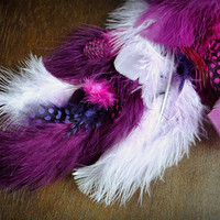 ROYALTY Feather Extension // Handmade Festival Hair Clip in Extension // Long Purple Pink